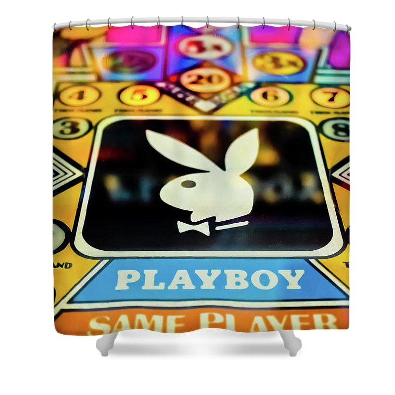 Pinball Shower Curtain Featuring The Photograph Playboy By Colleen Kammerer