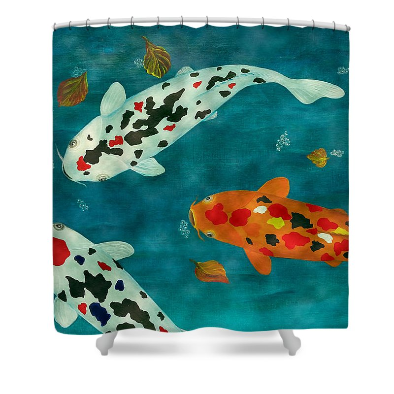 Koi Fish Shower Curtain Featuring The Painting Playful Fishes Original Acrylic By Georgeta Blanaru