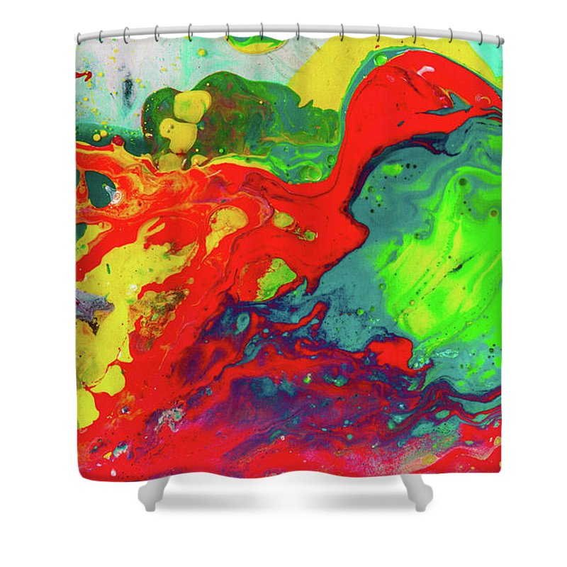 Art Shower Curtain Featuring The Painting Playful Spring