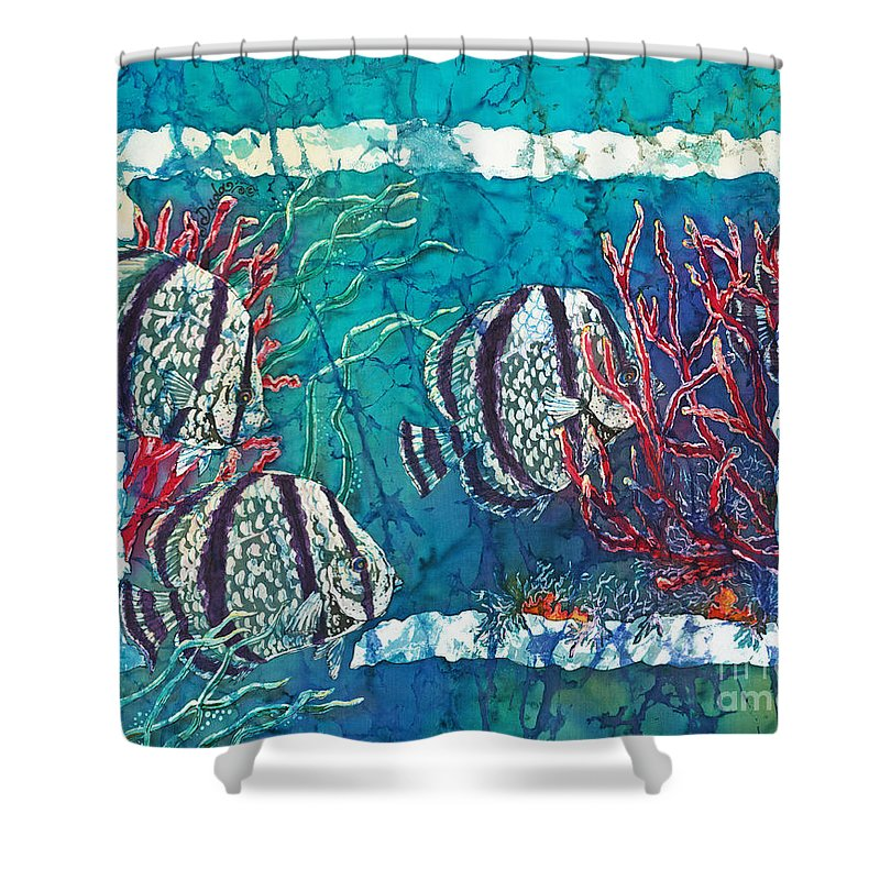 Fish Shower Curtain featuring the painting Playful Trio by Sue Duda
