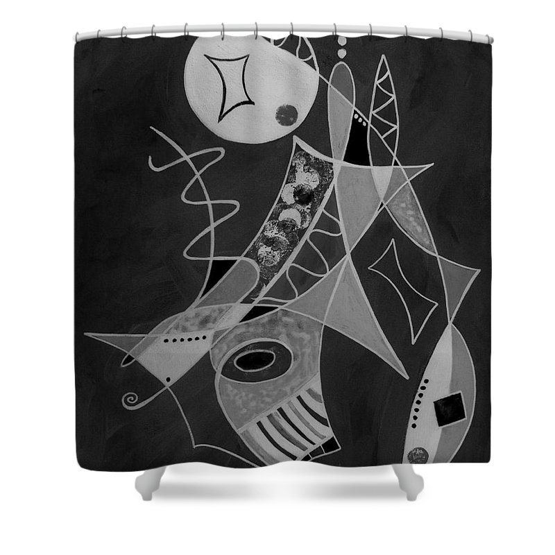 Abstract Shower Curtain featuring the painting Playing Go Fish by Ruth Palmer
