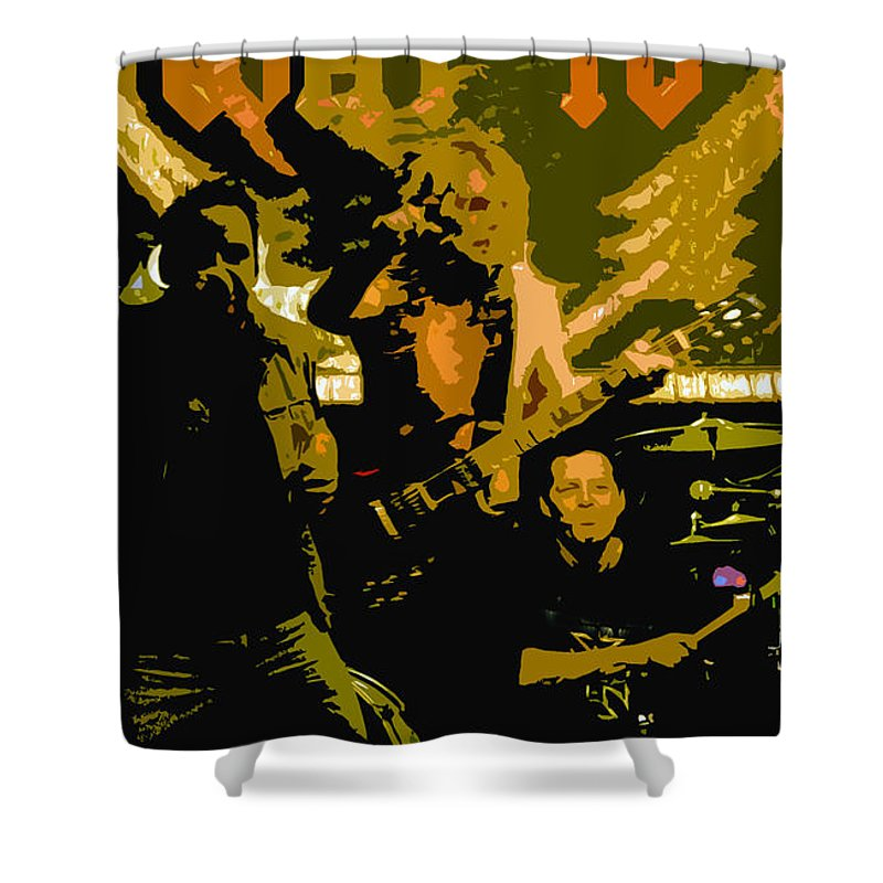 Rock N Roll Shower Curtain featuring the painting Playing Hard by David Lee Thompson
