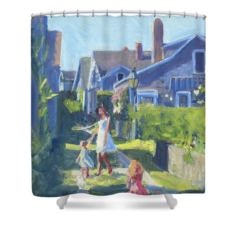Playing On Front Street Shower Curtain featuring the painting Playing On Front Street by Candace Lovely