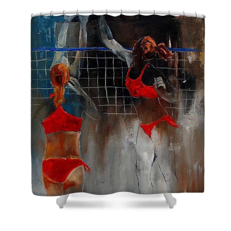 Sport Shower Curtain featuring the painting Playing Volley by Pol Ledent