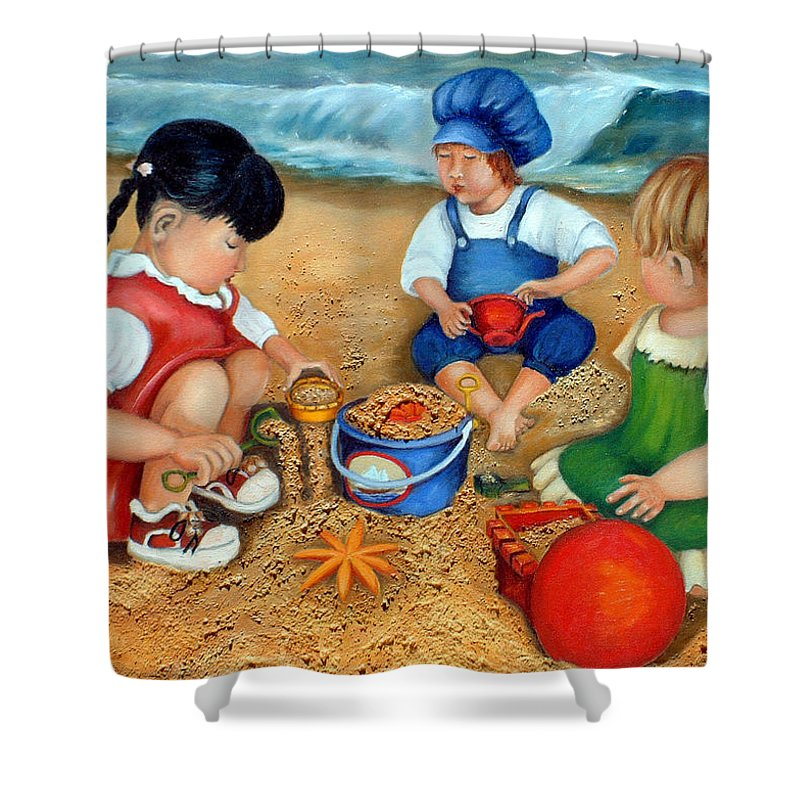 Beach Shower Curtain featuring the painting Playtime At The Beach by Portraits By NC