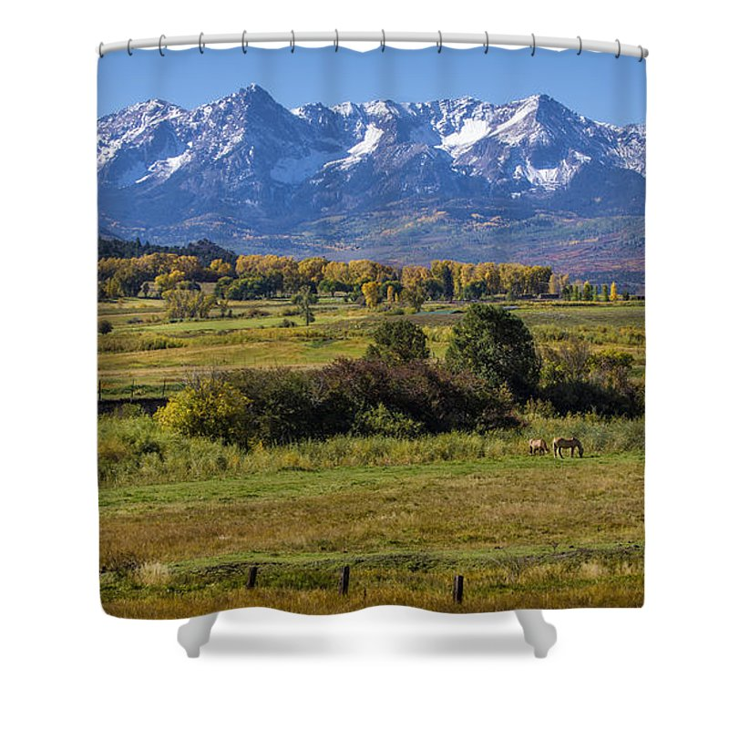 Horses Shower Curtain featuring the photograph Pleasant Valley by Priscilla Burgers