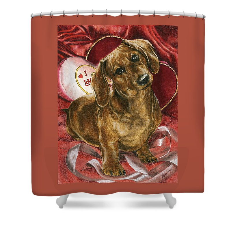 Purebred Shower Curtain featuring the mixed media Please Be Mine by Barbara Keith