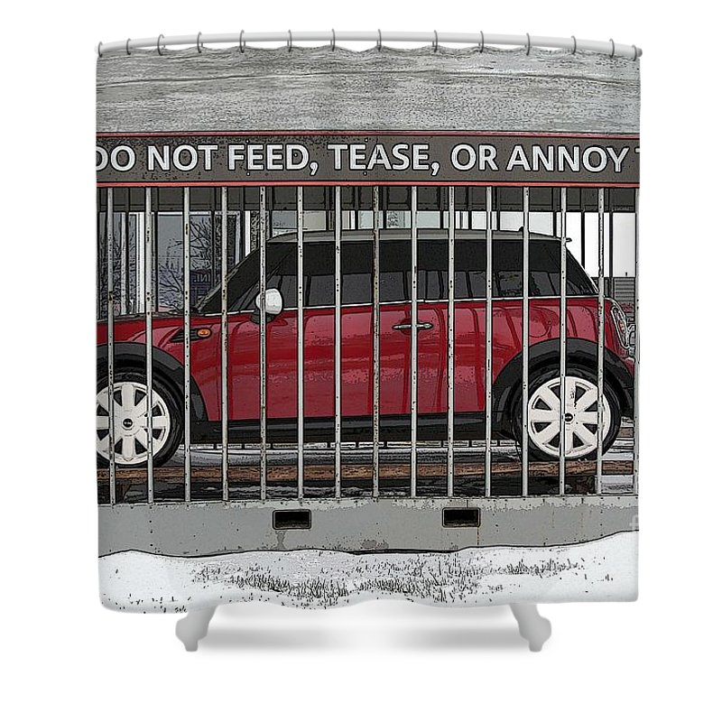 Mini Shower Curtain Featuring The Photograph Please Do Not Feed Tease Or Annoy By