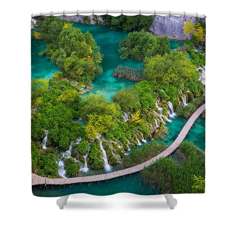Adriatic Shower Curtain featuring the photograph Plitvice Boardwalk by Inge Johnsson