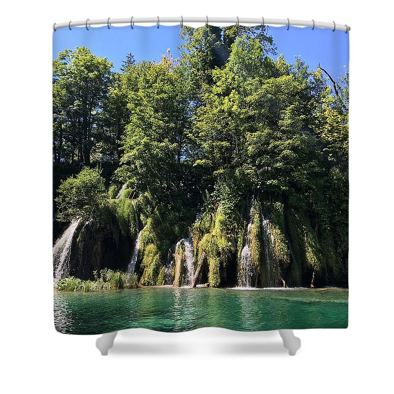 Plitvice Shower Curtain featuring the photograph Plitvice Falls by Christine Rivers