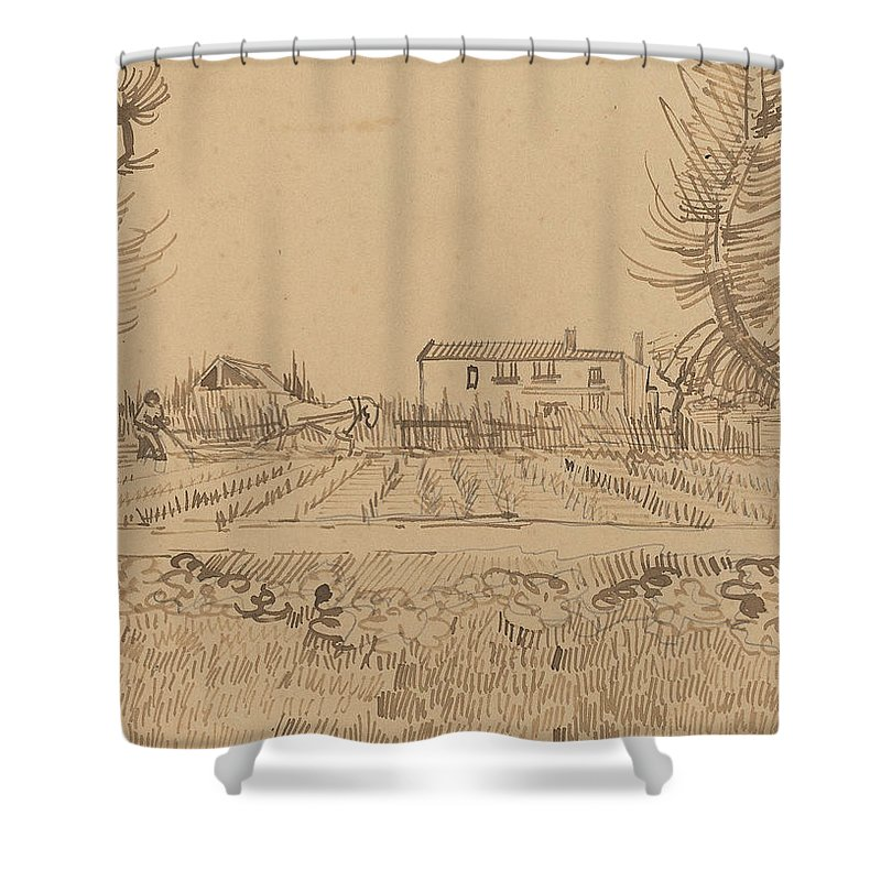 Tractor Shower Curtain featuring the painting Ploughman In The Fields Near Arles 1888 by Vincent Van Gogh