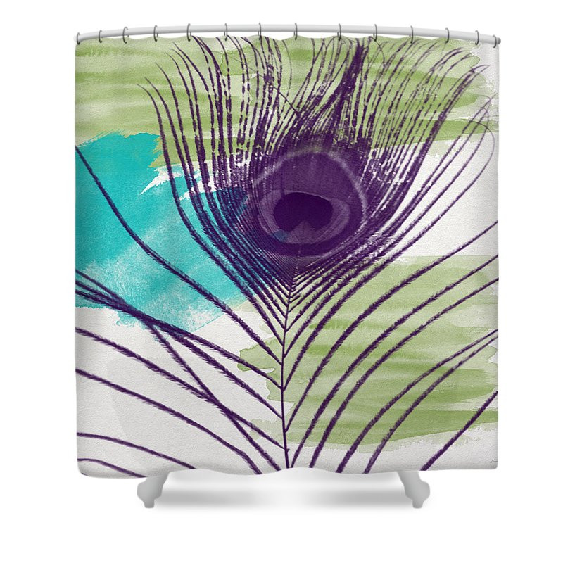 Peacock Shower Curtain featuring the painting Plumage 2-art By Linda Woods by Linda Woods