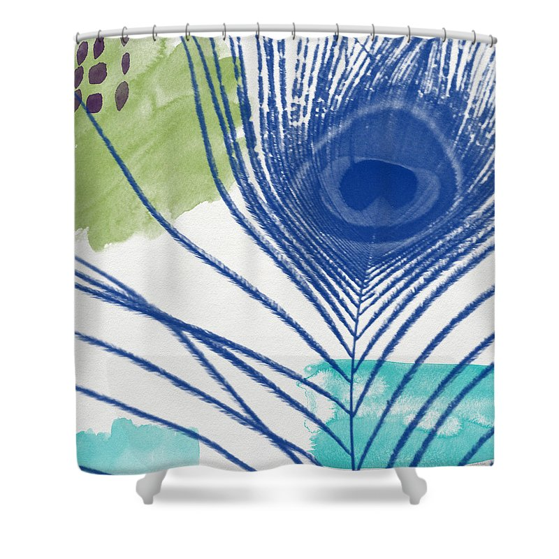 Peacock Shower Curtain featuring the painting Plumage 3- Art by Linda Woods by Linda Woods