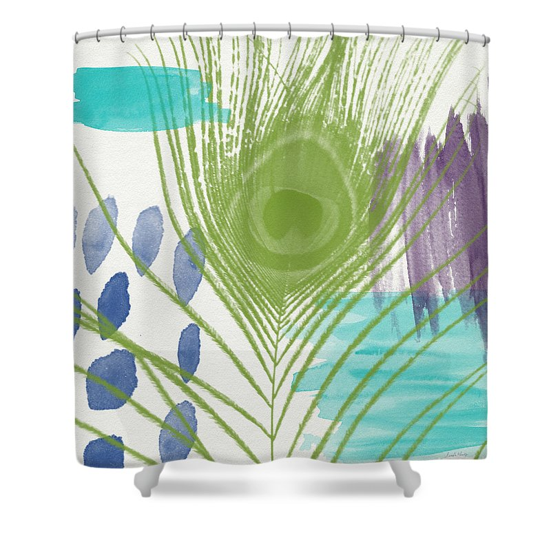Peacock Shower Curtain featuring the painting Plumage 4- Art By Linda Woods by Linda Woods
