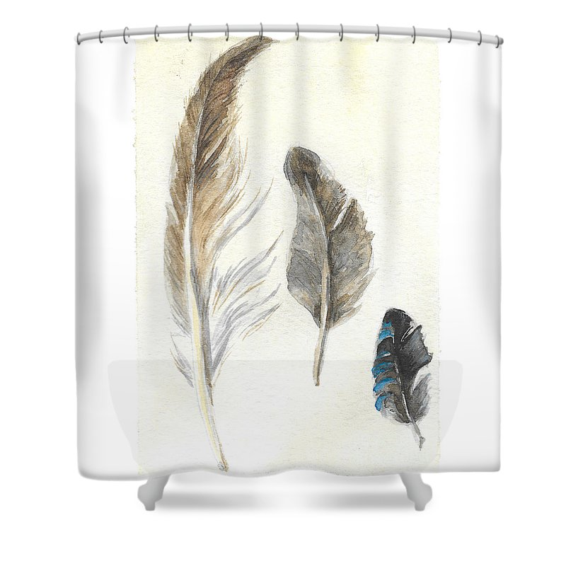 Plumage Shower Curtain featuring the painting Plumage by Yana Sadykova