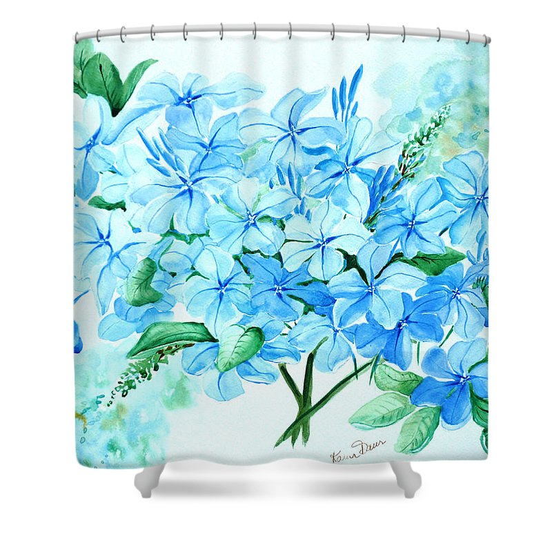 Floral Blue Painting Plumbago Painting Flower Painting Botanical Painting Bloom Blue Painting Shower Curtain featuring the painting Plumbago by Karin Dawn Kelshall- Best