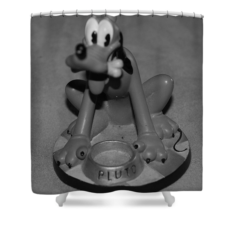 Black And White Shower Curtain featuring the photograph Pluto by Rob Hans