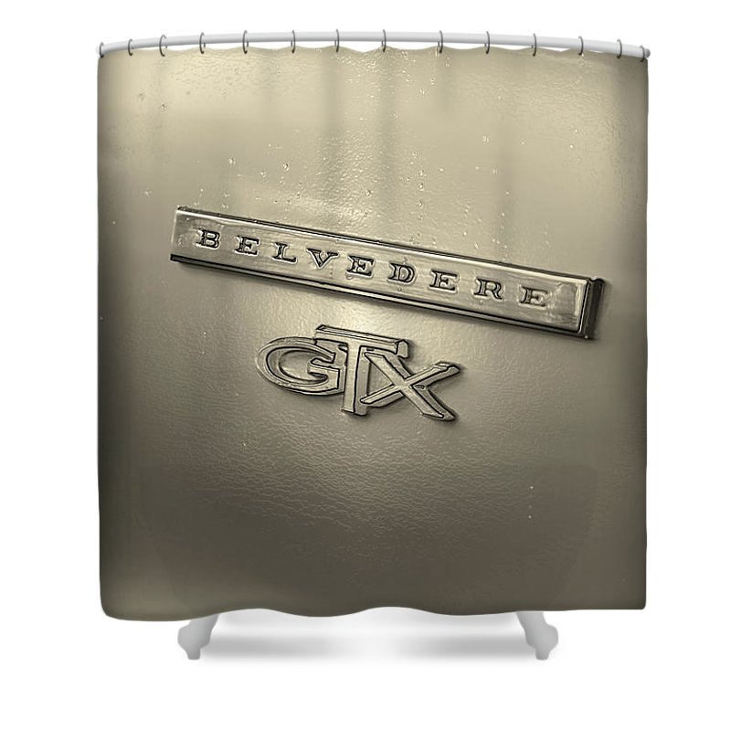 1967 Shower Curtain featuring the photograph Plymouth Belvedere Gtx Fender Emblem Badge by Gordon Dean II