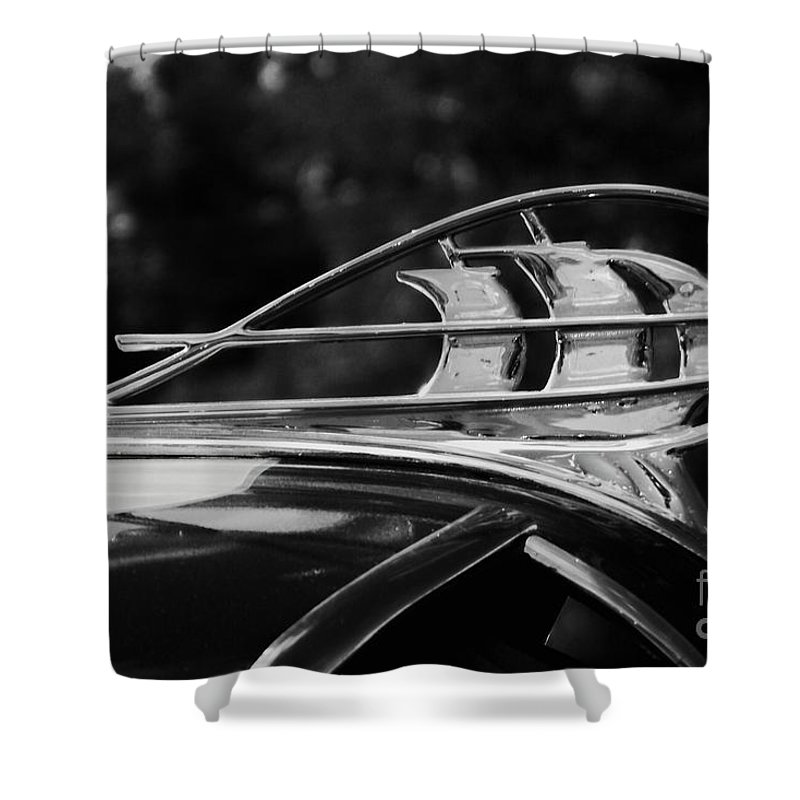 Plymouth Shower Curtain featuring the photograph Plymouth Hood Ornament by James Carr
