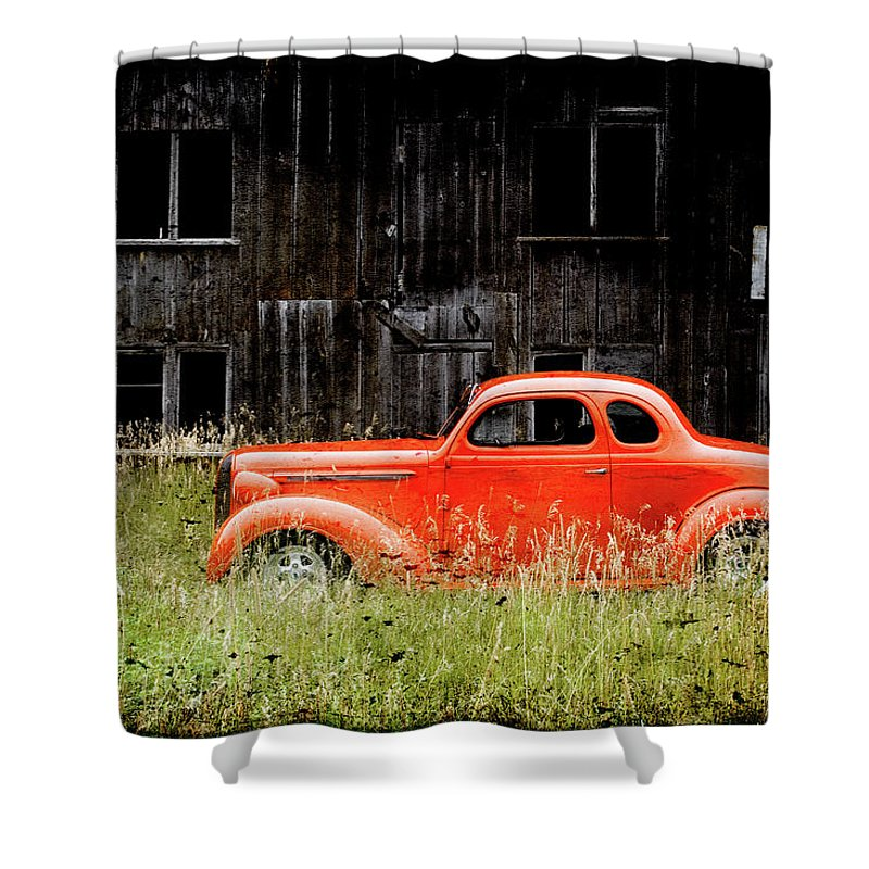 Hot Rod Shower Curtain featuring the photograph Plymouth Hot Rod by Joel Witmeyer