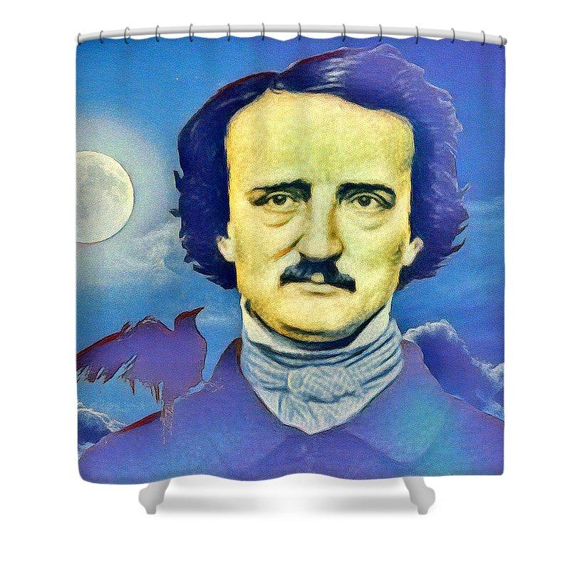 Edgar Allan Poe Shower Curtain featuring the digital art Poe by Enrique Meza Costeno