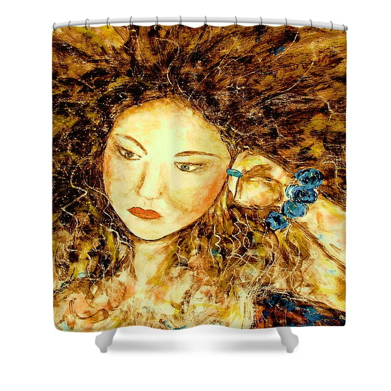 Portrait Shower Curtain featuring the painting Poet by Natalie Holland