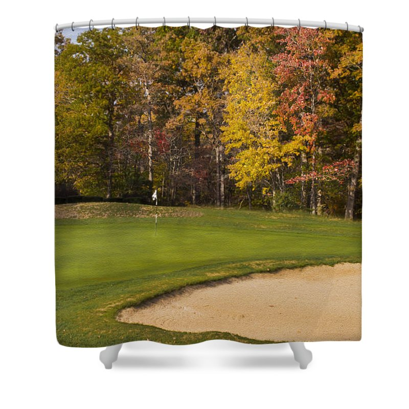 Golf Shower Curtain featuring the photograph Pohick Green #1 by Mark Stephens