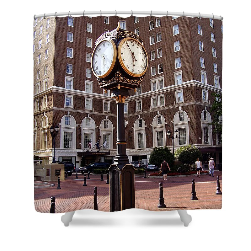 Poinsett Hotel Shower Curtain featuring the photograph Poinsett Hotel Greeenville Sc by Flavia Westerwelle