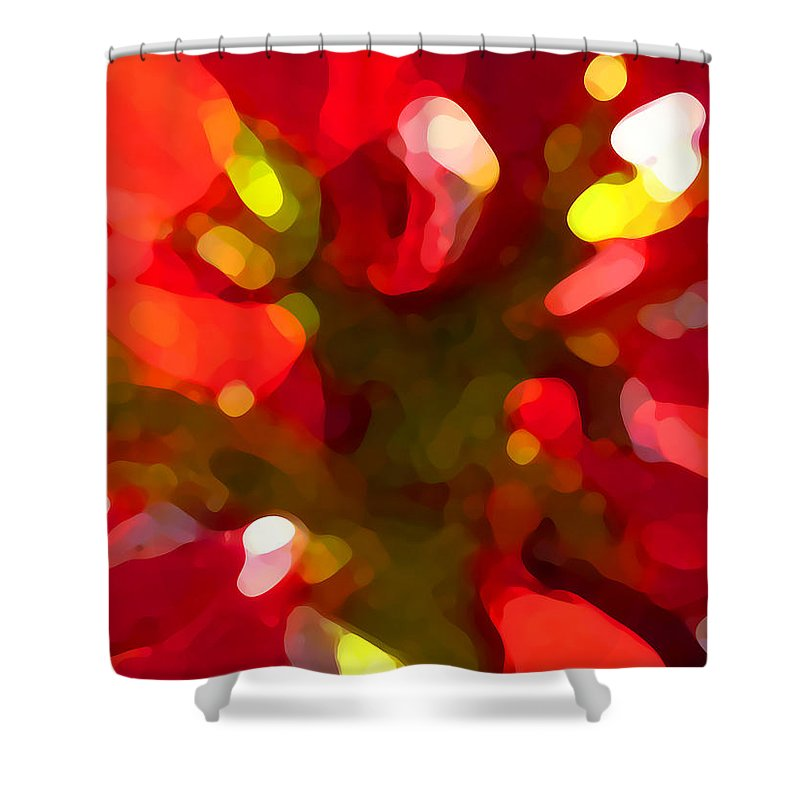 Abstract Painting Shower Curtain featuring the painting Poinsetta by Amy Vangsgard