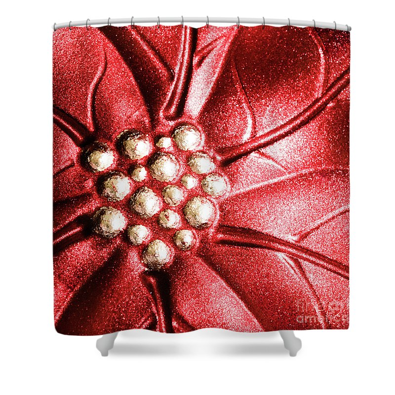 Poinsettia Shower Curtain featuring the photograph Poinsettia Abstract by Margaret Koc