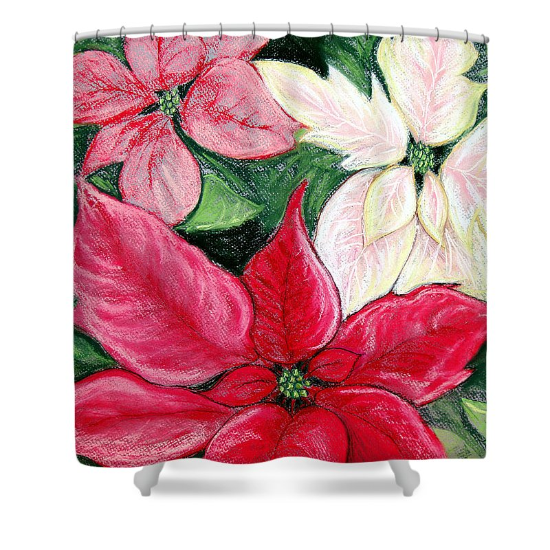 Poinsettia Shower Curtain featuring the pastel Poinsettia Pastel by Nancy Mueller