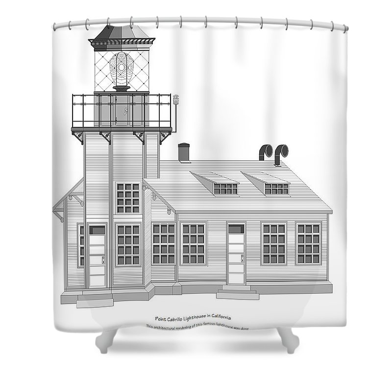 Lighthouse Shower Curtain featuring the painting Point Cabrillo Architectural Drawing by Anne Norskog