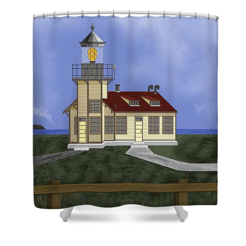 Lighthouse Shower Curtain featuring the painting Point Cabrillo California by Anne Norskog