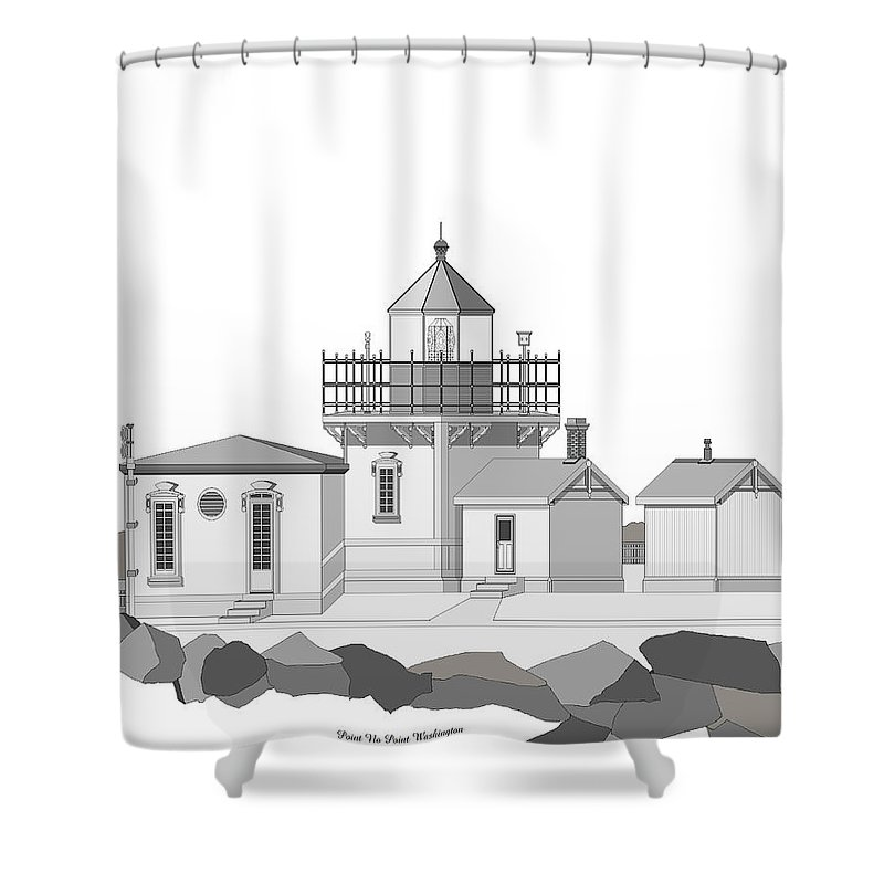 Lighthouse Shower Curtain featuring the painting Point No Point as Architectural Drawing by Anne Norskog