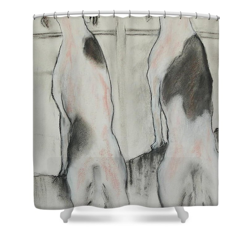 Pastel Shower Curtain featuring the drawing Point Of View by Cori Solomon
