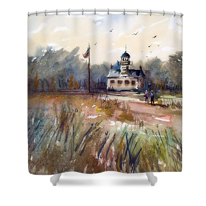 Watercolor Shower Curtain featuring the painting Point Pinos Lighthouse by Ryan Radke