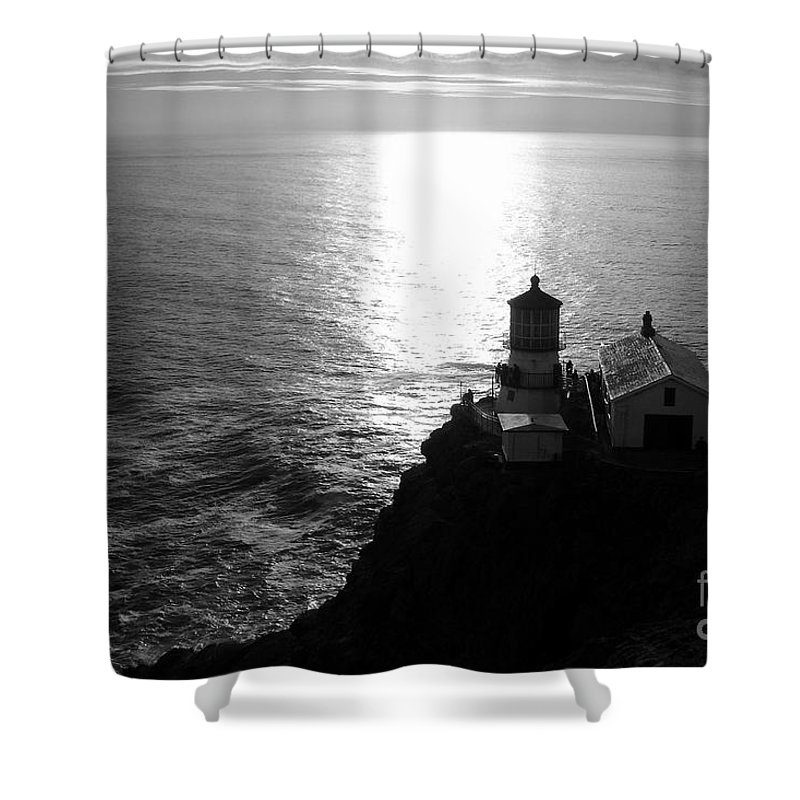 Lighthouse Shower Curtain featuring the photograph Point Reyes Lighthouse - Black And White by Carol Groenen