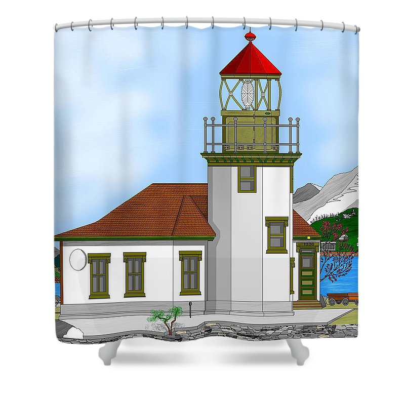 Lighthouse Shower Curtain featuring the painting Point Robinson On Vashon Island by Anne Norskog