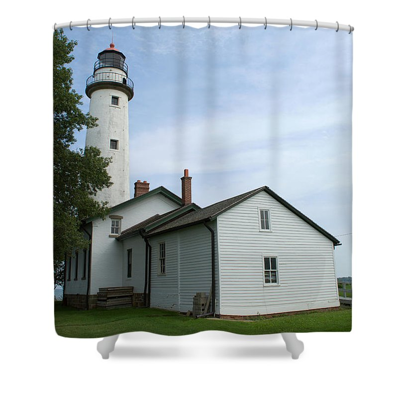 Pointe Aux Barques Lighthouse Shower Curtain featuring the photograph Pointe Aux Barques Lighthouse by Linda Kerkau