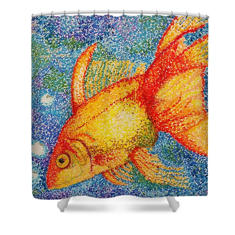 Gold Shower Curtain Featuring The Drawing Pointillism Goldfish By Kimberly Piro
