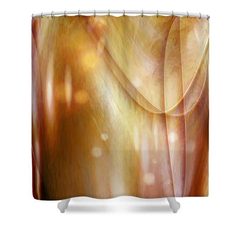 Abstract Art Shower Curtain featuring the digital art Points Of Light by Linda Sannuti