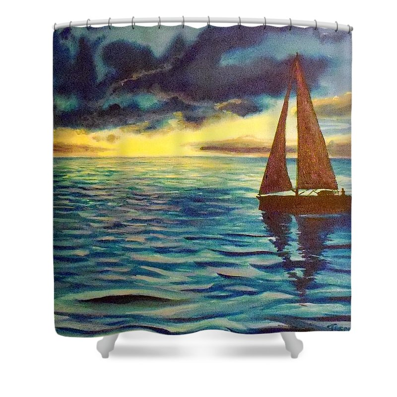 Sailboat Sunset Sunrise Blue Lake Ocean Shower Curtain featuring the painting Points Unknown by William Tremble