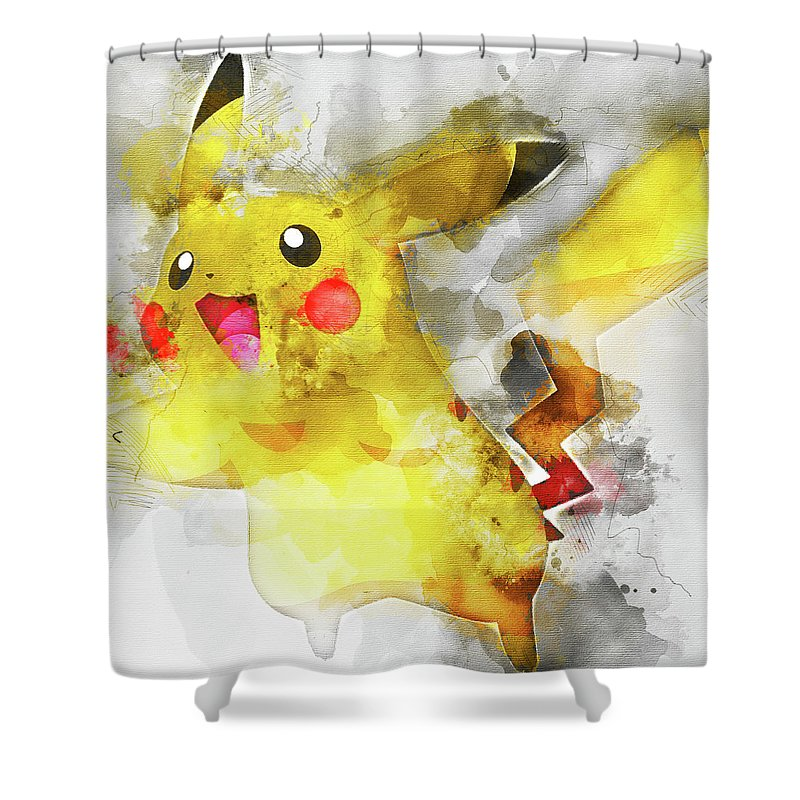 Pokemon Shower Curtain Featuring The Painting Pikachu Abstract Portrait