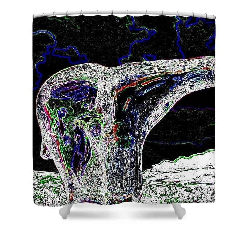 Abstract Shower Curtain featuring the digital art Polar Bear by Will Borden