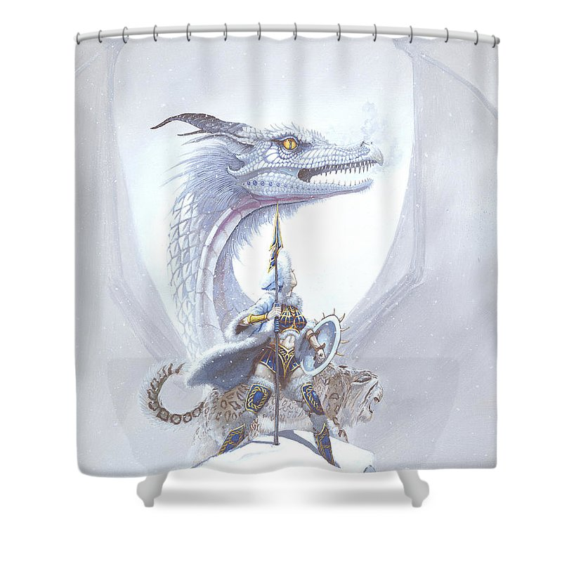 Dragon Shower Curtain featuring the painting Polar Princess by Stanley Morrison