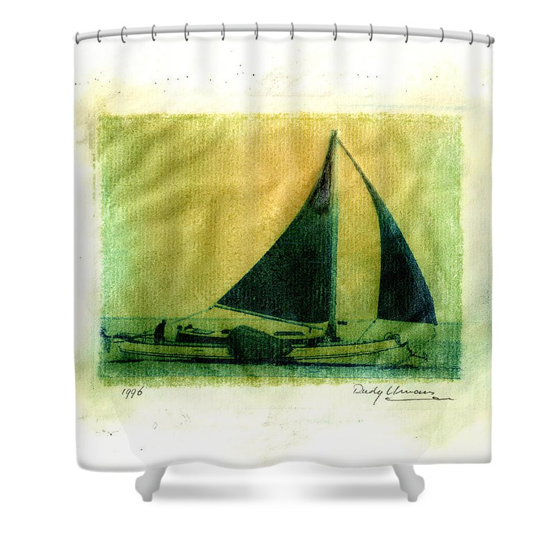 Polaroid Shower Curtain featuring the photograph Polaroid Boat by Rudy Umans