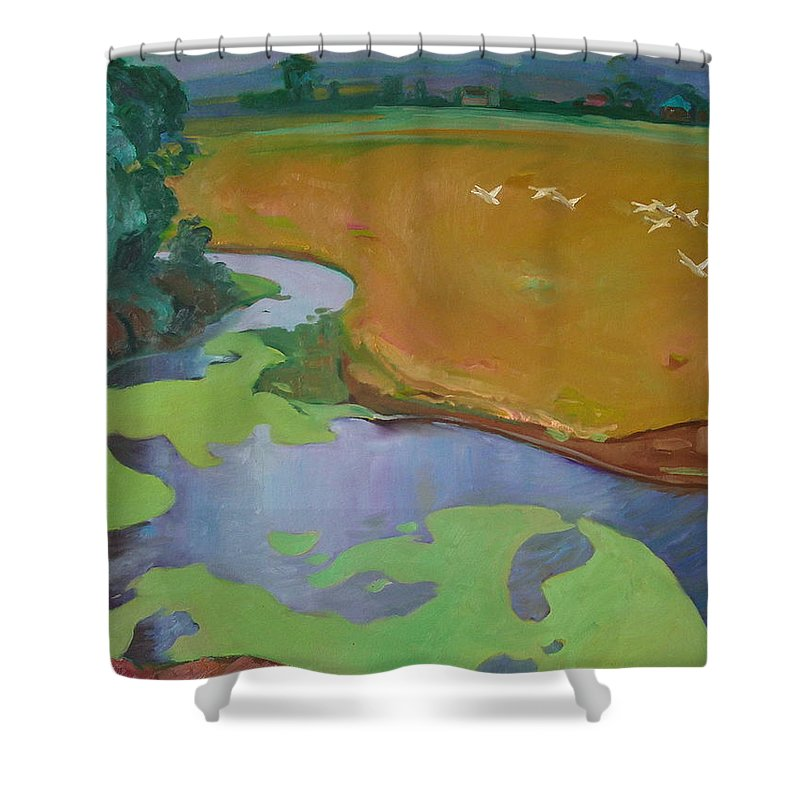 Landscape Shower Curtain featuring the painting Polesia by Sergey Ignatenko