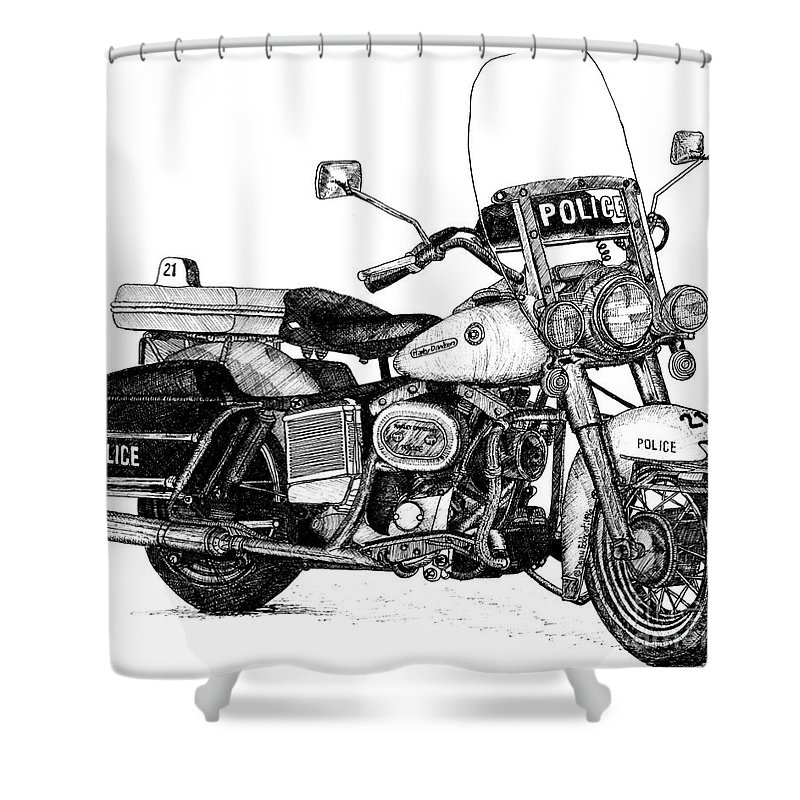 Harley Davidson Shower Curtain Featuring The Drawing Police Hog Motorcycle By Dawn Boyer