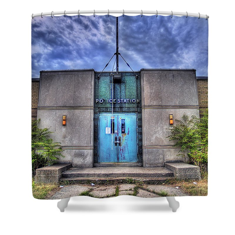 Abandoned Shower Curtain featuring the photograph Police Station by Tammy Wetzel