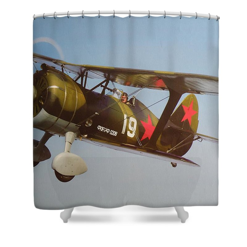 Russian Shower Curtain featuring the photograph Polikarpov I-15bis by Ted Denyer
